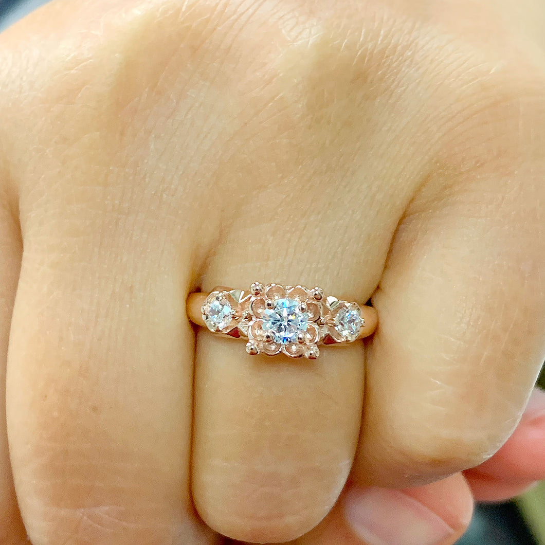 14k Rose Gold Round Cut Diamond Engagement Ring Art Deco Antique Style, Bridal, Prong Set, Natural Diamonds, Halo, Three Stone 0.60ct