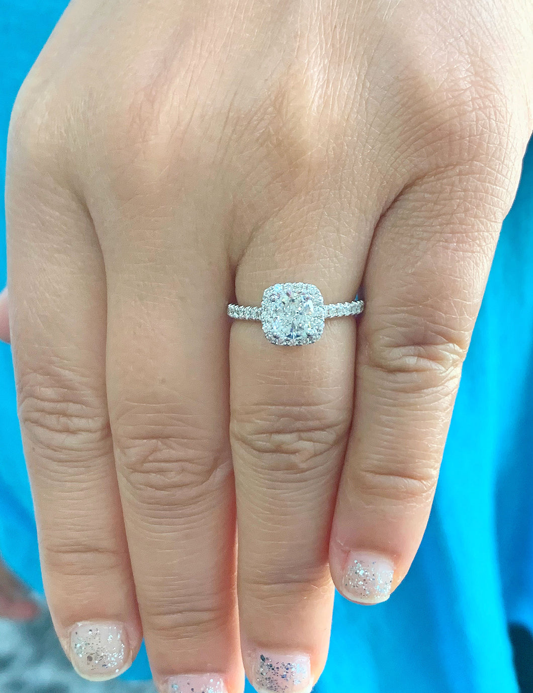 Women's Stunning 14k solid white gold cushion and Round cut diamond engagement ring halo natural diamonds 1.60ctw