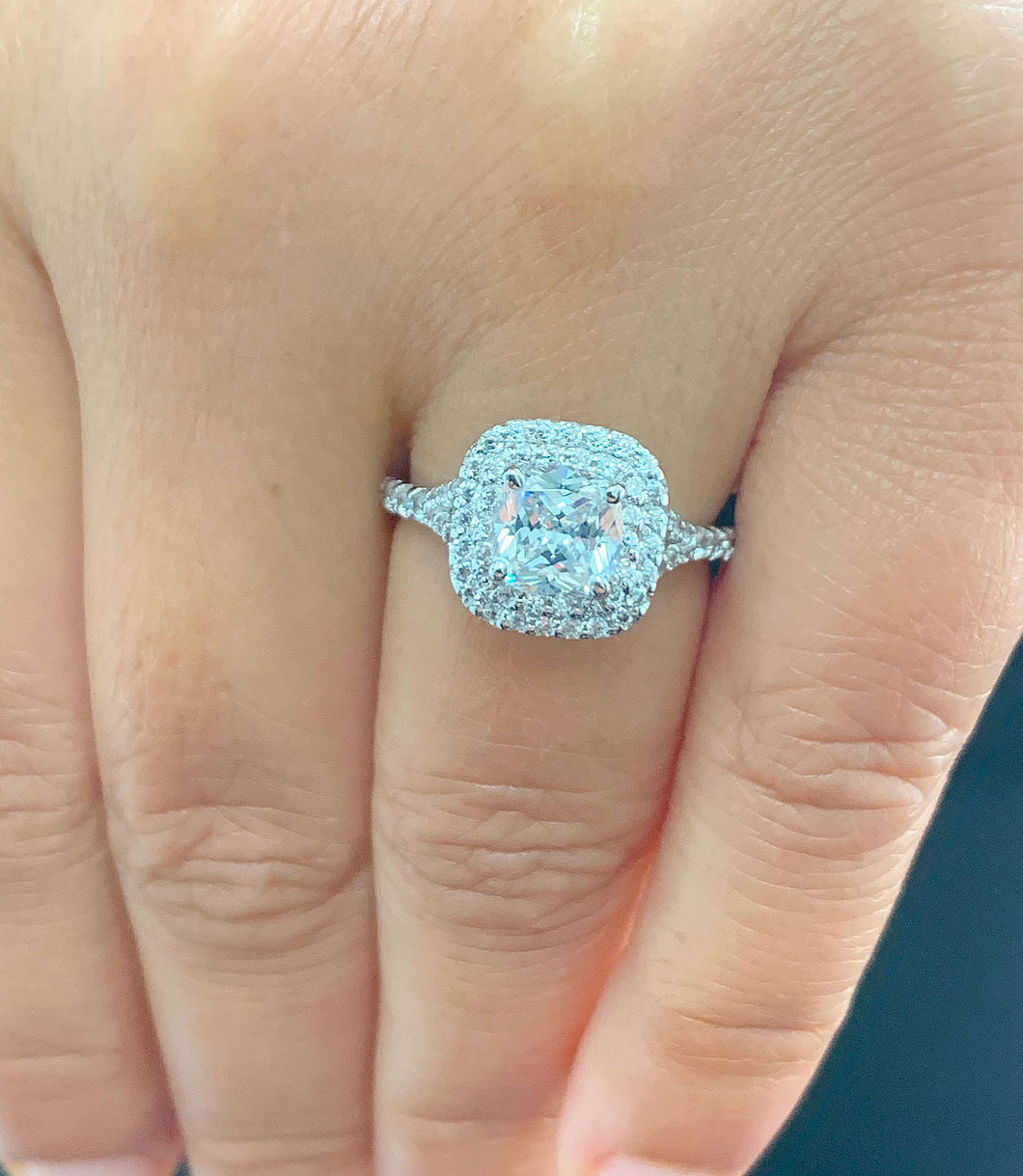 14k Solid White Gold Cushion Cut Forever One Moissanite and Natural Diamond Engagement Ring Soleste Style Double Halo 1.80ctw