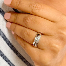 Load image into Gallery viewer, 14k solid heavy white gold round cut natural diamond semi bezel engagement ring wedding 0.70ct
