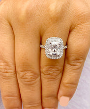 Load image into Gallery viewer, Double Halo 14K Solid White Gold Cushion Cut Moissanite and Natural Diamond Engagement Ring Wedding Bridal 4.00ct