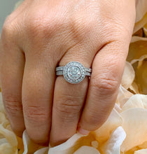 Load image into Gallery viewer, Filigree Antique Style 14k Solid White Gold Round Cut Forever One Moissanite and Natural Diamond Engagement Ring And Band Bezel Halo 1.70ctw