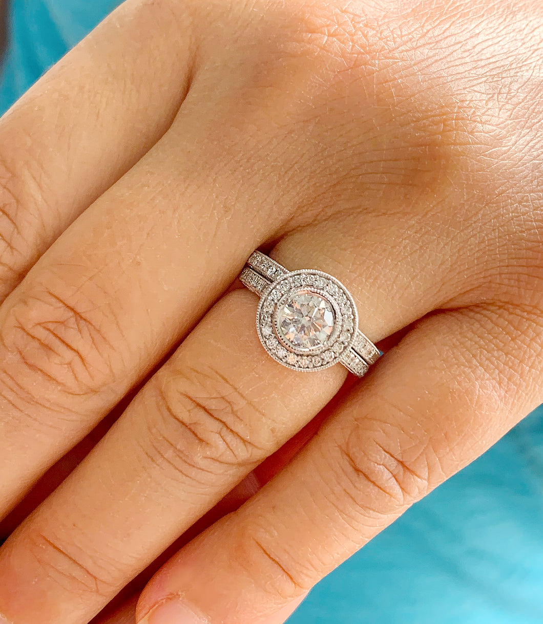 Filigree Antique Style 14k Solid White Gold Round Cut Forever One Moissanite and Natural Diamond Engagement Ring And Band Bezel Halo 1.70ctw
