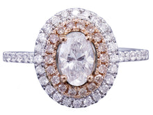Load image into Gallery viewer, 14k White Rose Gold Oval Cut Diamond Engagement Ring Double Halo Bridal Wedding Anniversary Halo Natural Diamonds 1.20ct
