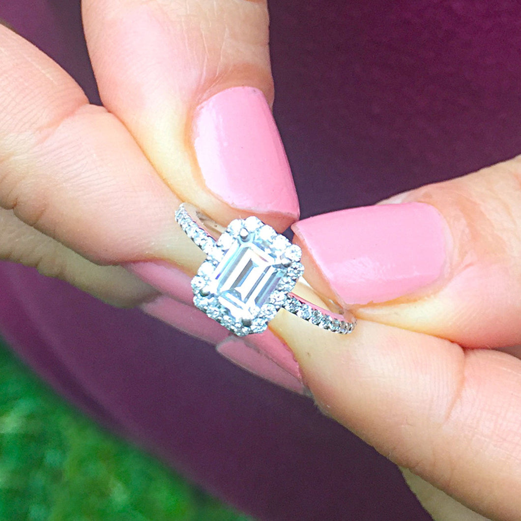 14k white gold emerald cut forever one moissanite and diamond engagement ring halo split shank Bridal Wedding  Natural Diamonds 1.50ct