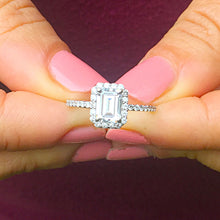 Load image into Gallery viewer, 14k white gold emerald cut forever one moissanite and diamond engagement ring halo split shank Bridal Wedding  Natural Diamonds 1.50ct