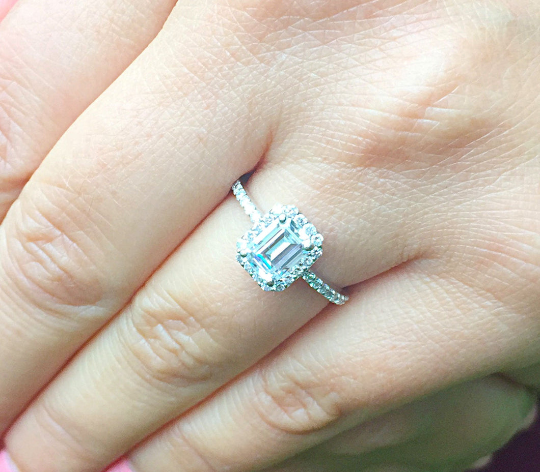 14k white gold emerald cut forever one moissanite and diamond engagement ring halo split shank Bridal Wedding  Natural Diamonds 2.00ct