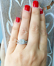 Load image into Gallery viewer, 1.25 Carat princess cut diamond engagement ring and band diamonds bridal wedding set halo 14k solid white gold