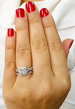 Load image into Gallery viewer, 1.50 Carat princess cut diamond engagement ring and band natural diamonds bridal wedding set halo 14k solid white gold round cut sides