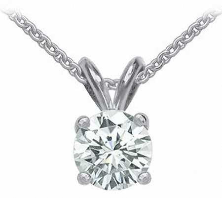 14k white gold 1.50ct round cut forever one moissanite prong set solitaire necklace and chain