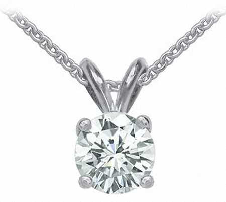 14k white gold 1.20ct round cut forever one moissanite prong set solitaire necklace and chain