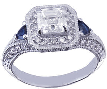 Load image into Gallery viewer, 18k white gold asscher cut forever one moissanie and diamond and triangle sapphire engagement ring Bridal, Wedding, Natural Diamonds 1.65ctw