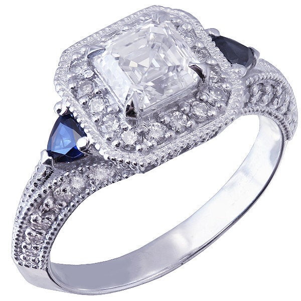 18k white gold asscher cut forever one moissanie and diamond and triangle sapphire engagement ring Bridal, Wedding, Natural Diamonds 1.65ctw