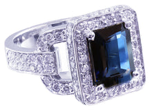 Load image into Gallery viewer, 14k white gold sapphire and round cut diamonds ring art deco antique 4.90ct