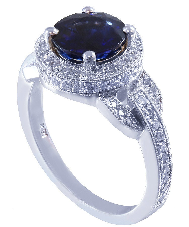 14k solid white gold round cut natural sapphire and natural diamond art deco engagement ring halo 2.40ctw
