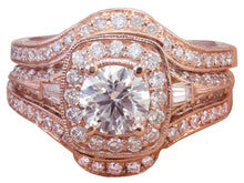 Load image into Gallery viewer, 14k Rose Gold Round Cut Diamond Engagement Ring And Bands Halo Filigree 2.50ctw