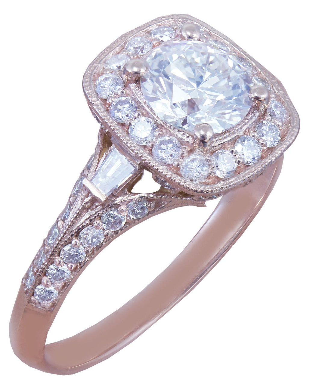 14k Rose Gold Round Cut Forever One Moissanite and Diamond Engagement Ring Antique Style Prong Wedding, Bridal, Natural Diamonds 1.95ctw