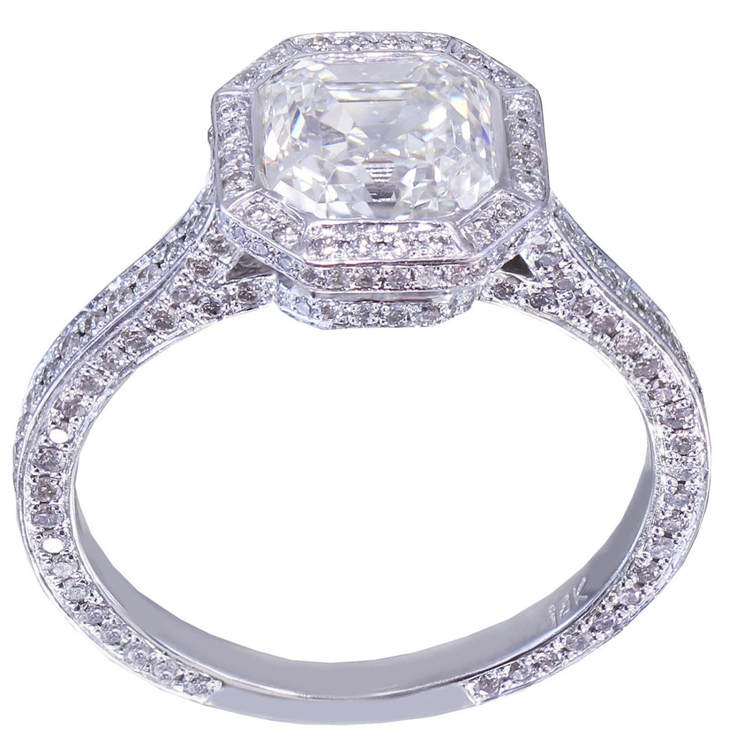 14K Solid White Gold Asscher Cut Forever One Moissanite and Natural Diamond Engagement Ring Bezel Bridal Wedding Promise Propose 2.75ctw