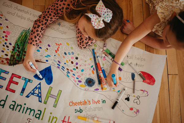 Kids Colouring a Little Tigers Cheetah Poster