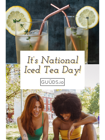 Two Glasses of Lemon Iced Tea, Title of Blog Post, and Two Smiling Women Outside Sitting on Grass
