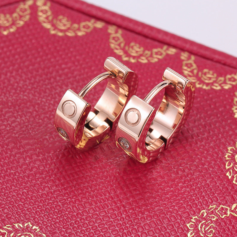 Amore Rose Gold Cuff Earrings