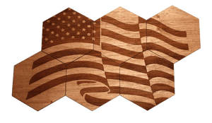 Solid Wood Coasters (6-Pack - American Flag) - American Made Retail Company