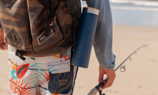 20 oz water bottle connected to backpack