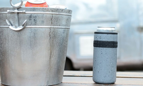 can cooler next to ice bucket