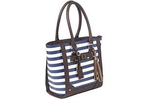 Bulldog Concealed Carry Purse Tote Style Navy Stripe