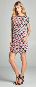 Geometric Tunic Dress Mauve
