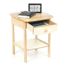 Load image into Gallery viewer, Natural Wood Finish 1-Drawer Bedroom End Table Nightstand