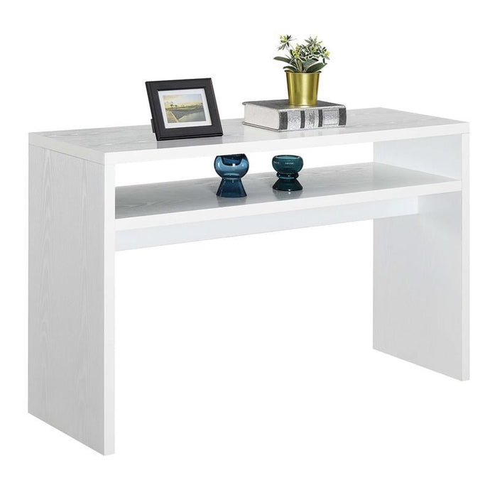 Modern FarmHome White Sofa Table Console Table with Bottom Shelf