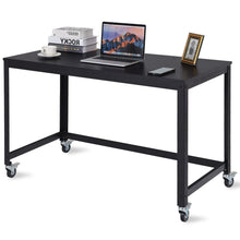 Load image into Gallery viewer, Mobile Steel Frame Laptop Computer Desk with Black Wood Top and Locking Casters