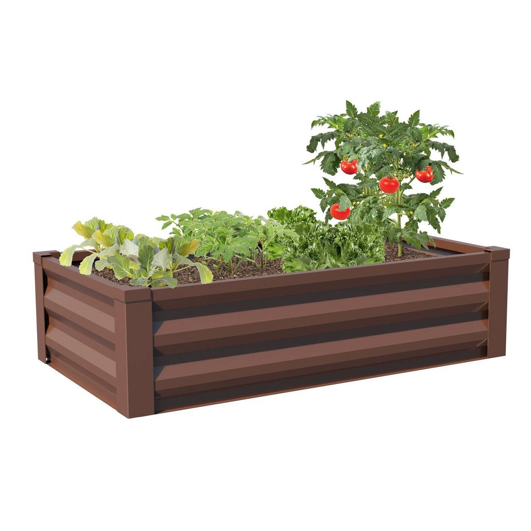 Brown Powder Coated Metal Raised Garden Bed Planter Made In USA