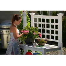 Load image into Gallery viewer, White Vinyl Outdoor Garden Classic Potting Bench with Shelves