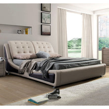 Load image into Gallery viewer, California King Light Brown Tan Faux Leather Upholstered Bed with Headboard