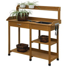Load image into Gallery viewer, Wooden Potting Bench Work Table-sink Light Oak Finish