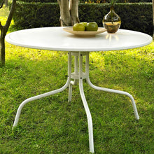 Load image into Gallery viewer, Round Patio Dining Table in White Outdoor UV Resistant Metal