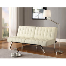 Load image into Gallery viewer, Split-back Modern Futon Style Sleeper Sofa Bed in Vanilla Faux Leather