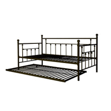 Load image into Gallery viewer, Twin size Metal Daybed with Pull-out Trundle Bed in Bronze Finish