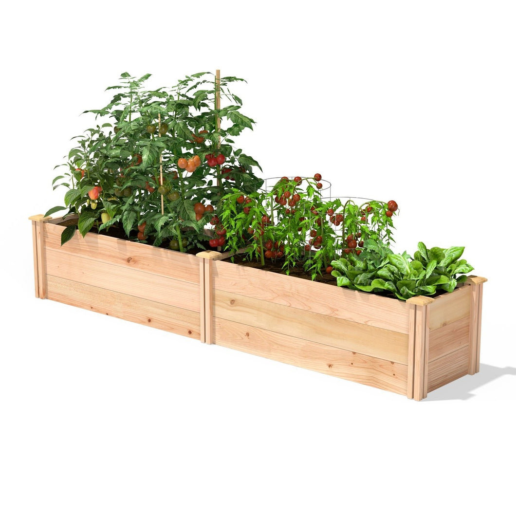 16 in x 96 in Sturdy FarmHouse Narrow Cedar Wood Raised Garden Bed - Made in USA