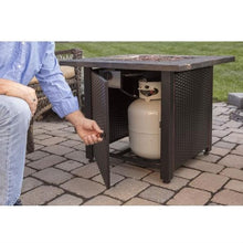 Load image into Gallery viewer, Outdoor Patio Propane Fire Pit with Hidden Fuel Tank Storage Cabinet