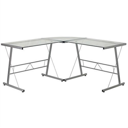 Modern Silver Metal L-Shaped Desk with Glass Top and Floor Glides