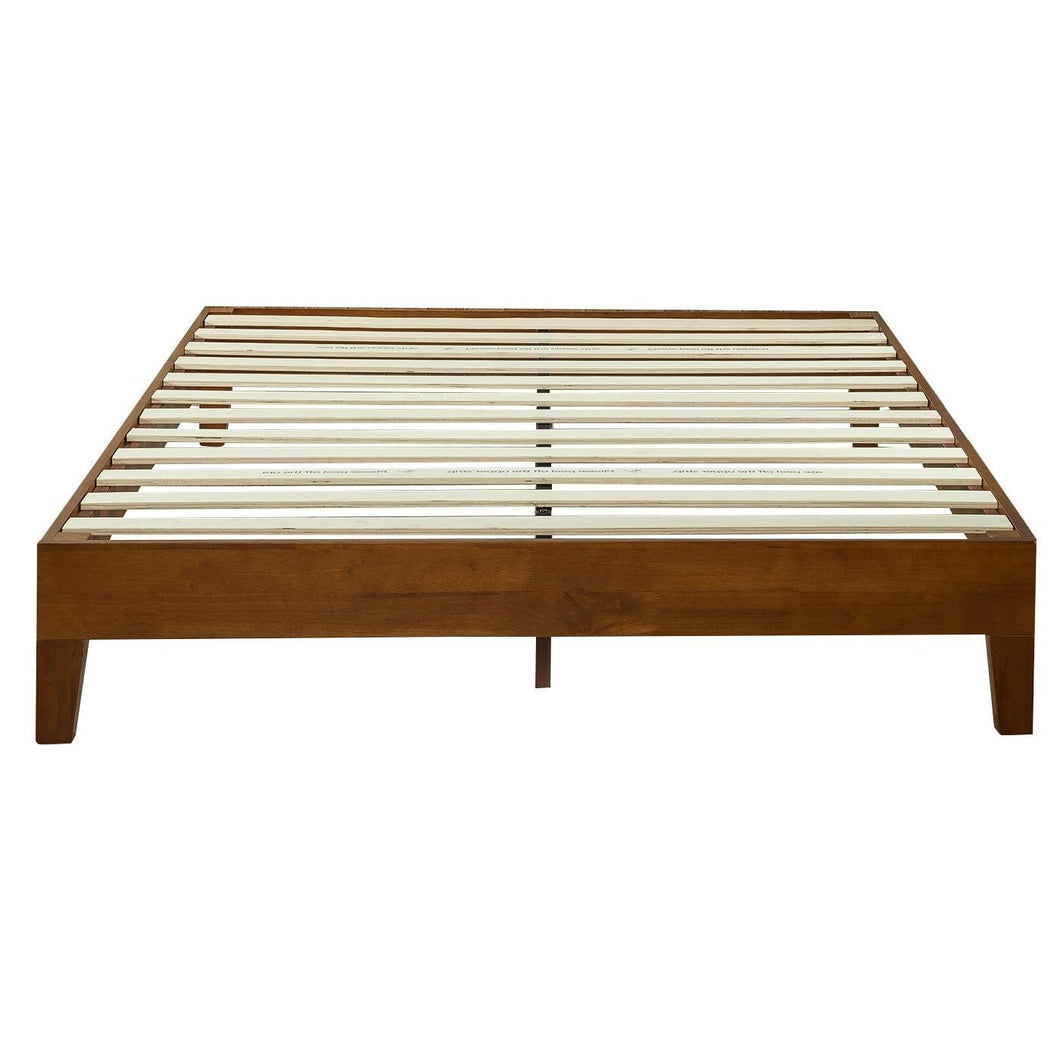 Full size Low Profile Platform Bed Frame in Cherry Wood Finish