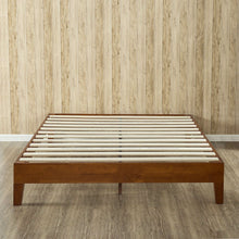 Load image into Gallery viewer, Full size Low Profile Platform Bed Frame in Cherry Wood Finish