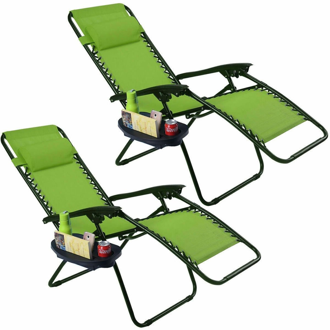 Set of 2 Green Folding Outdoor Zero Gravity Lounge Chair Recliner