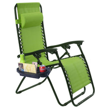 Load image into Gallery viewer, Set of 2 Green Folding Outdoor Zero Gravity Lounge Chair Recliner