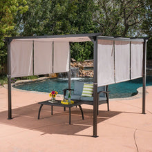 Load image into Gallery viewer, Outdoor Patio Steel Frame Gazebo Pergola with Grey Water Resistant Sun Shade