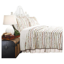 Load image into Gallery viewer, Full / Queen 100% Cotton Quilt Set Ruffled Multi-color Stripes