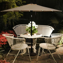 Load image into Gallery viewer, Beige 9-Ft Patio Umbrella with Steel Pole Crank Tilt and Solar LED Lights
